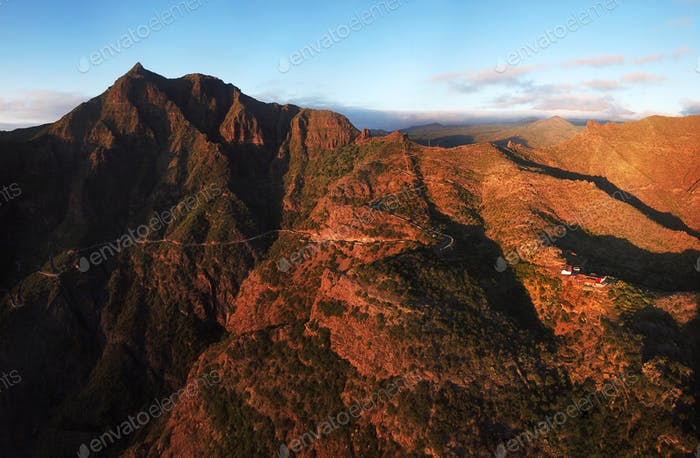 Aerial view of mountain road to Masca village on Tenerife, Canar