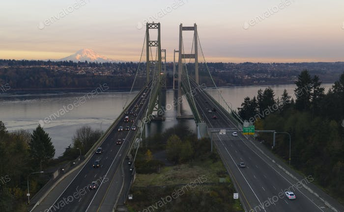Aerial View Tacoma Narrows Bridges over Puget Sound Mount Rainier