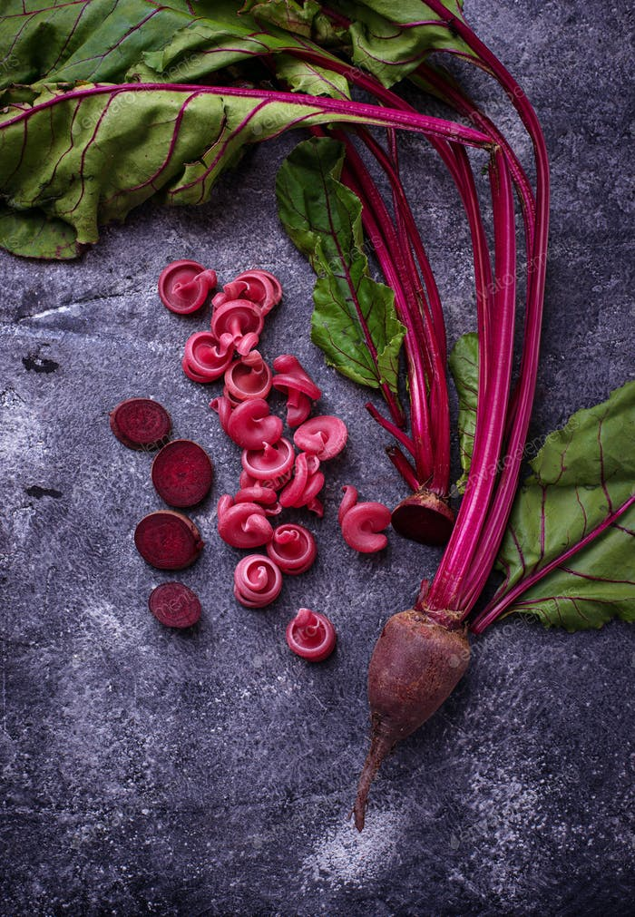 Red pasta with beetroot