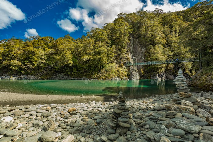 Famous attraction - Blue Pools, Haast Pass,  New Zealand, South