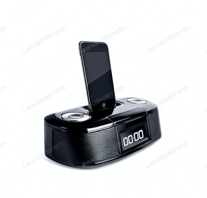 Black smartphone on white background