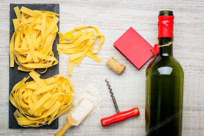 Tagliatelle Pasta with Bottle Wine
