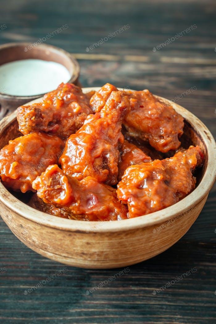 Bowl of buffalo wings