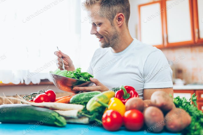 A man at home on a diet