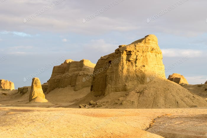 wind erosion landform landscape in sunset