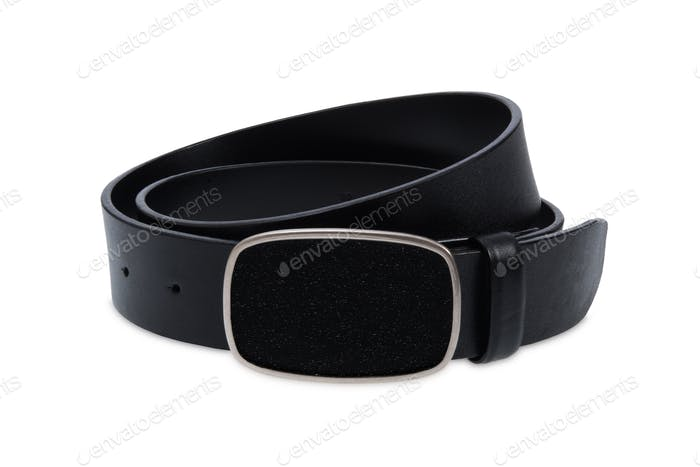 Leather black belt with black buckle