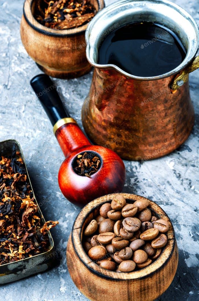 Smoking pipe and coffee