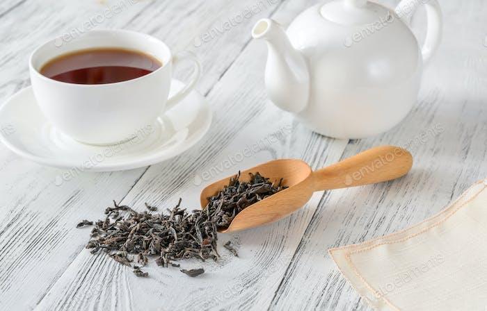 Porcelain teapot with tea