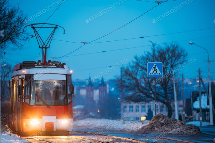 Vitebsk, Belarus. Public Old Retro Tram Of Route Number Eight Mo