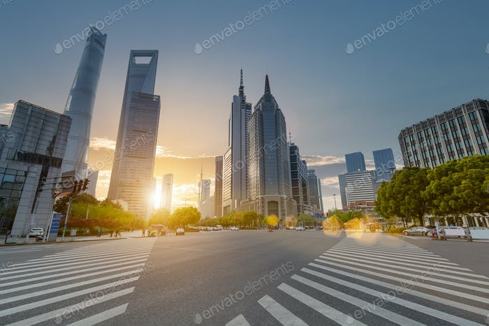 shanghai century avenue in sunset, street scene with modern building