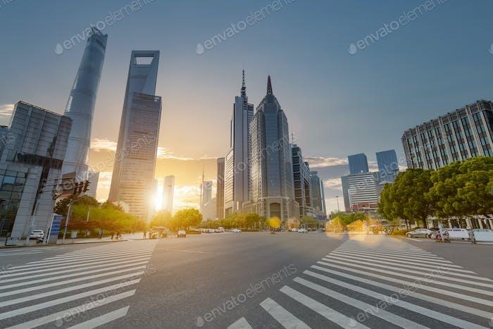 shanghai century avenue in sunset, street scene with modern building