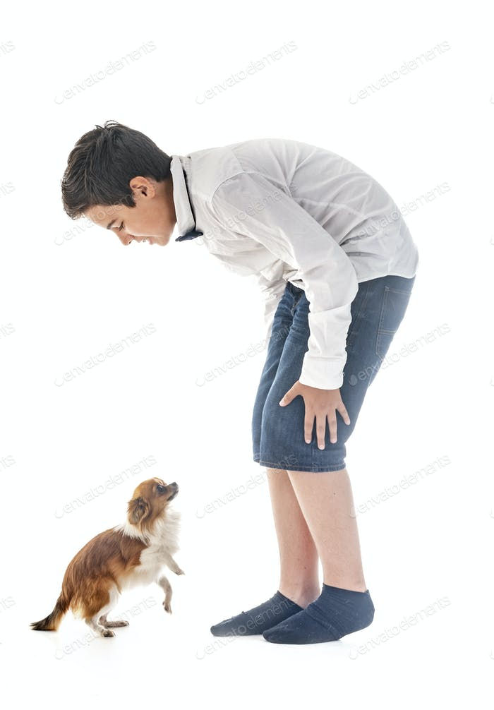 boy with chihuahua