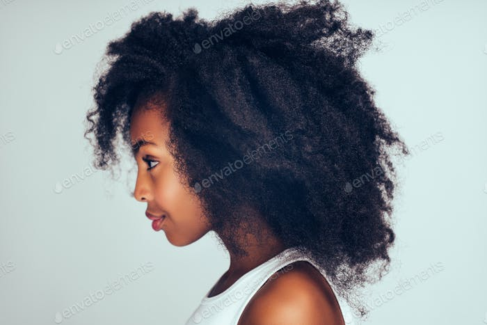 Profile of a cute little African girl with curly hair