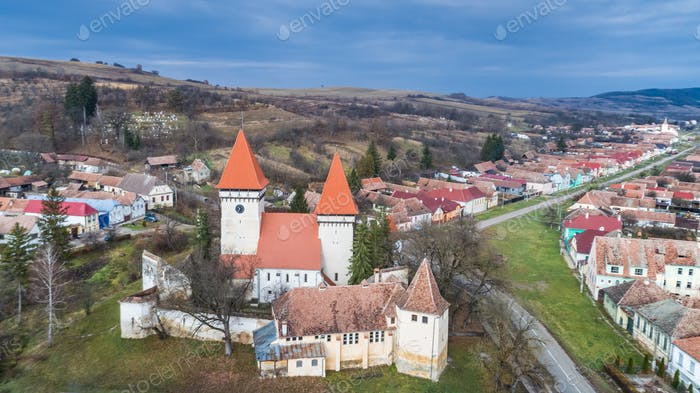 Dealu Frumos fortified church in Transylvania, Romania.