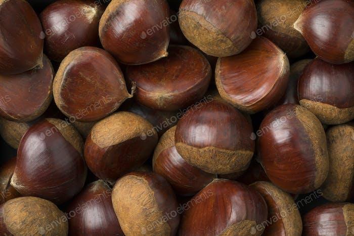 Frische süße Kastanien Nahaufnahme