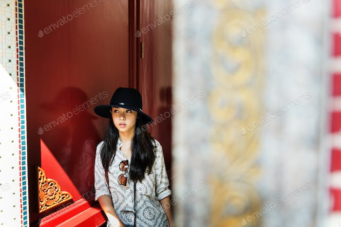 Asian Woman Travel Vacation Temple Relax Concept