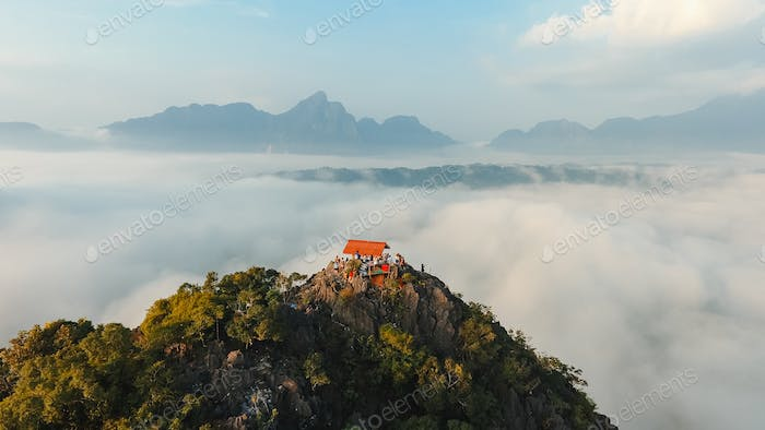 South African mountains beautiful landscape background, green spring aerial view of African.