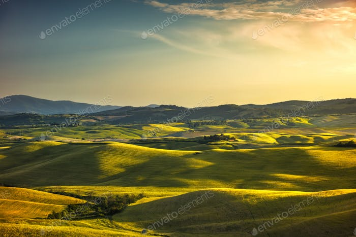 Tuscany spring, rolling hills and green fields on sunset. Rural