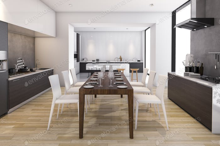 3d rendering wood wide kitchen and dining room with appliance