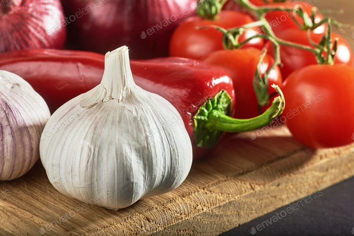 onion and garlic and hot peppers and tomatoes