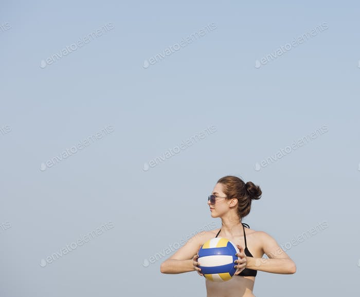 Woman Playing Volleyball Beach Summer Concept