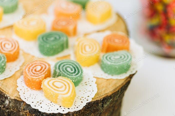 Dessert Süß Lecker Lecker Bunte Gelees in Candy Bar Auf Tisch