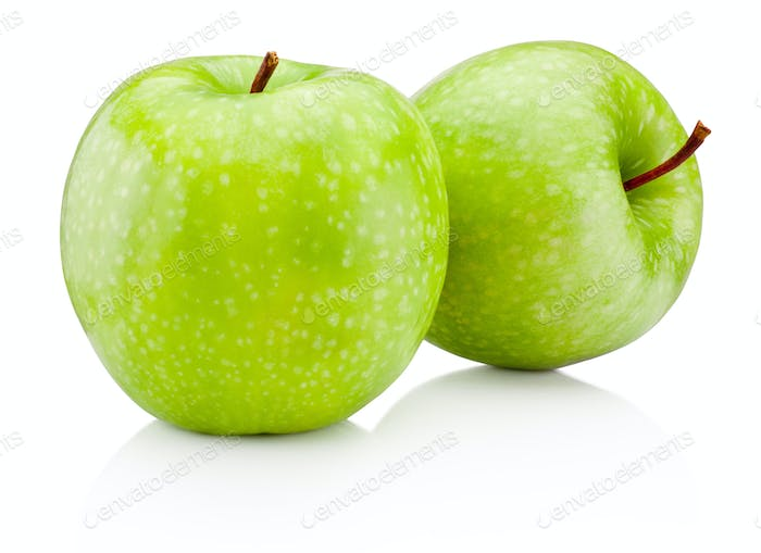 Two green apple isolated on white background