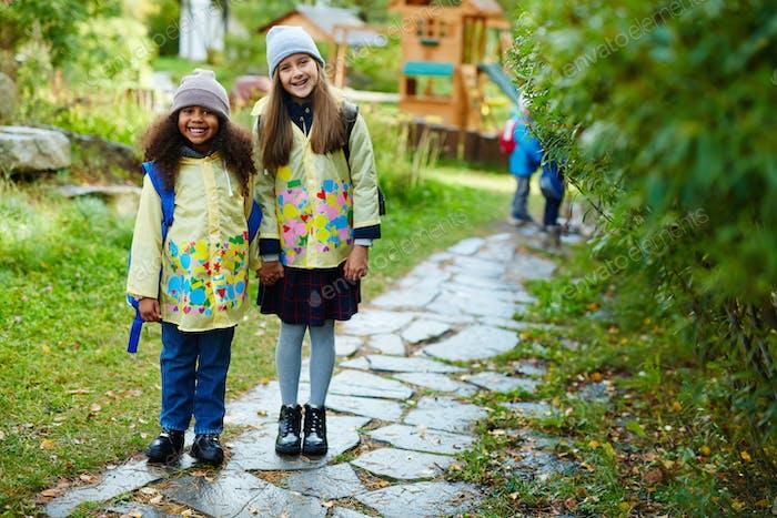 Happy schoolgirls