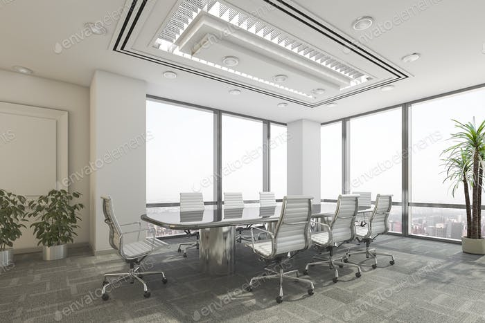 3d rendering business meeting room on office building