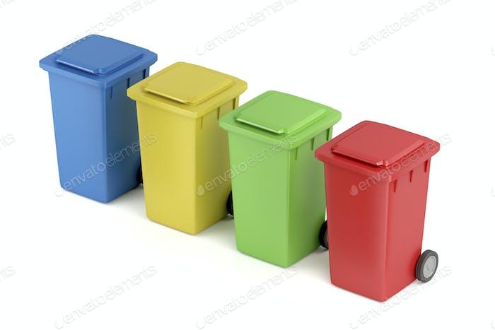 Multicolored plastic trash bins