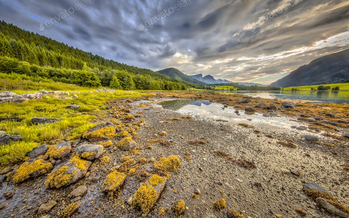 Fjord landscape Eidsbygda peninsula Norway HDR