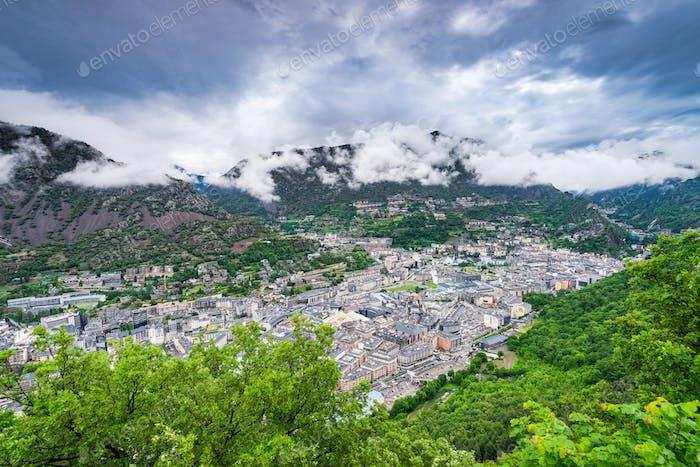 Aerial view over Andorra la Vella,Andorra.