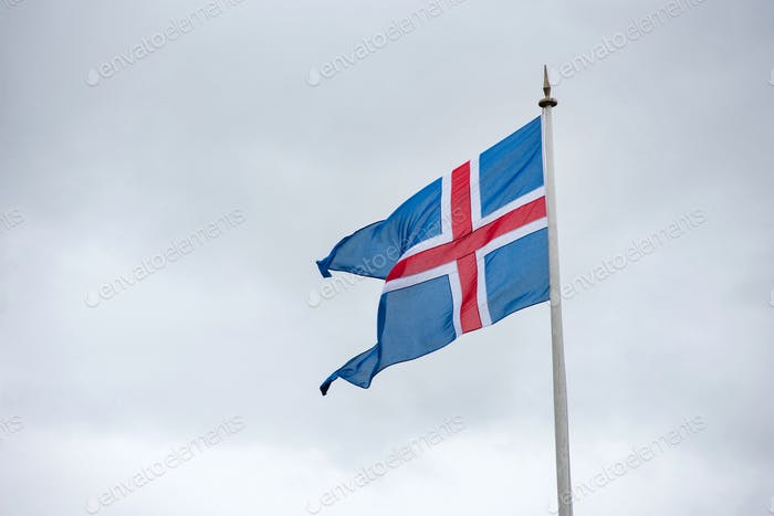 Flag of Iceland blowing in the wind