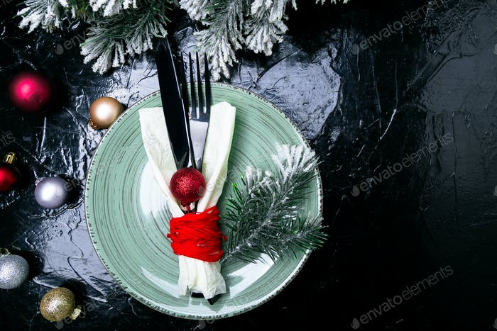 Christmas table place setting.