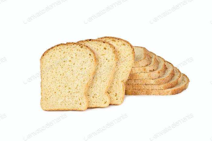wheaten bread sliced, on white