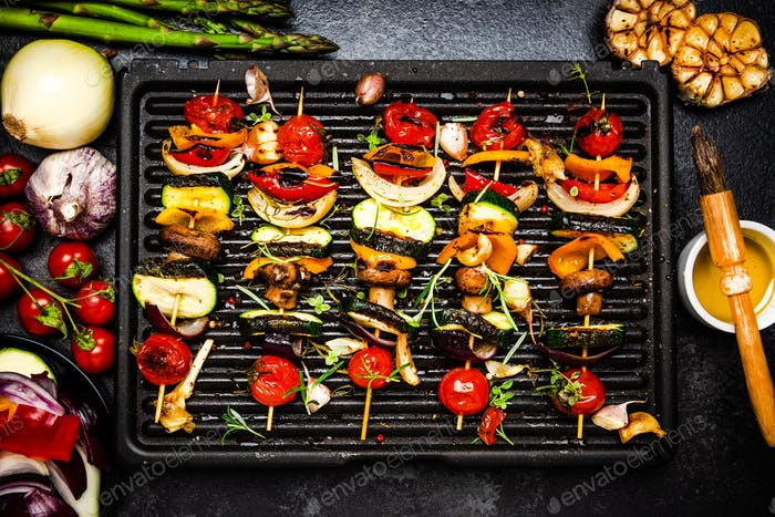 BBQ Grill Vegetables Skewers with Herbs and Spices. Colorful Helathy Summer Party Food
