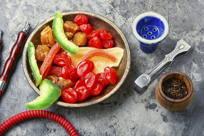 Shisha with candied fruit.