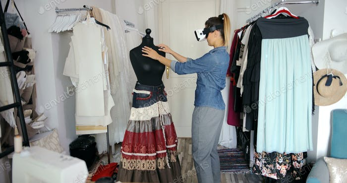 Tailor working in VR glasses