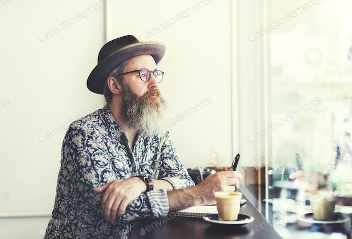 Writer Bar Counter Bart Schnurrbart Cafe Coffee Concept