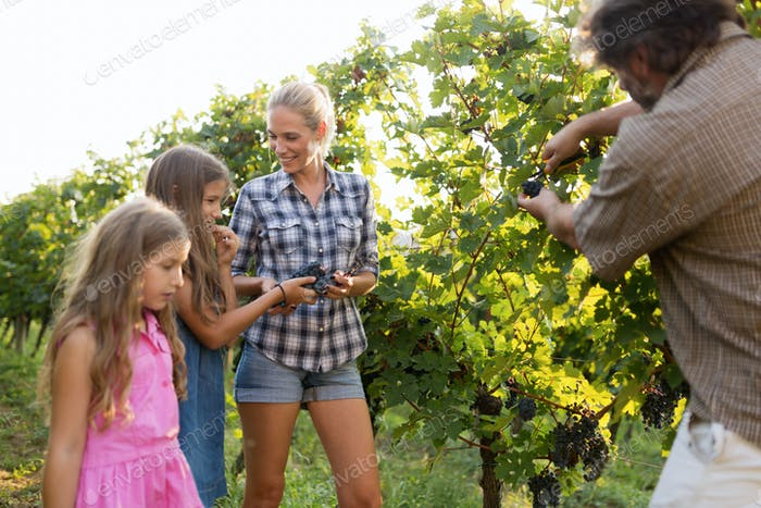 Winemaker family together in vineyard