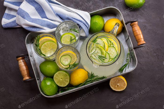 Tray with a refreshing drink