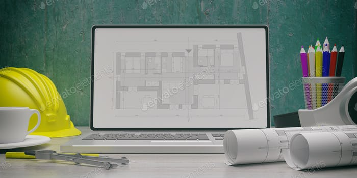Residential building blueprint plan on a laptop screen. 3d illustration