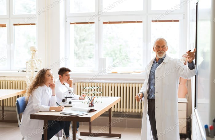 Senior teacher teaching high school students in laboratory.