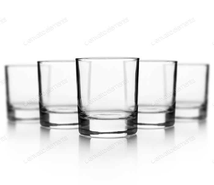 Set of empty glass for whiskey