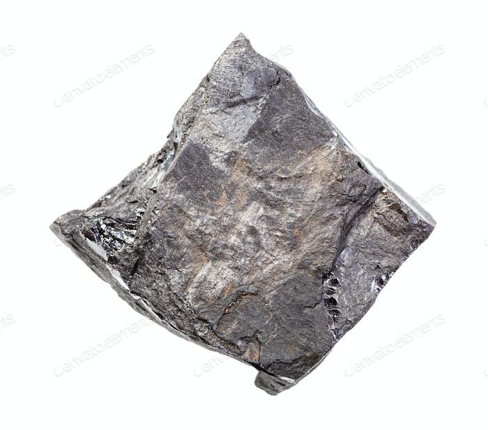 ungeschliffene Kohle Schiefergestein isoliert auf weiß