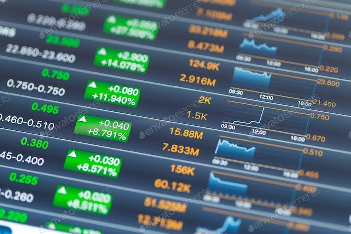 Stock market increase on digital tablet screen