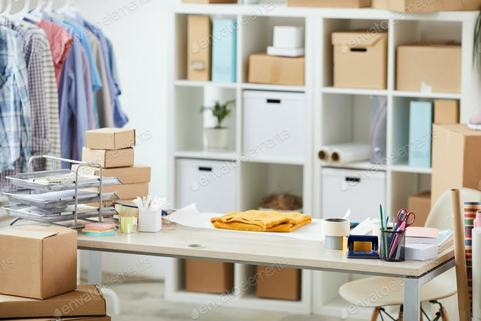 Desk of contemporary online shop manager