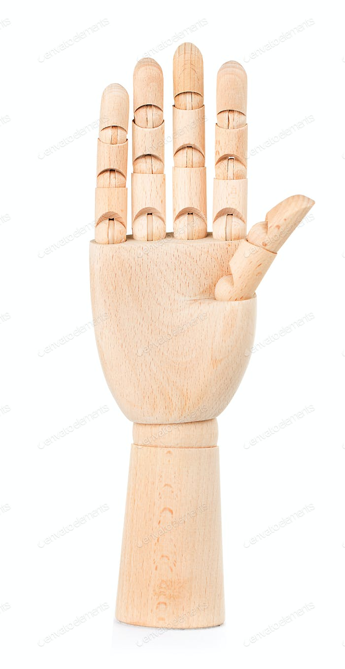 Wooden hand isolated on a white background.