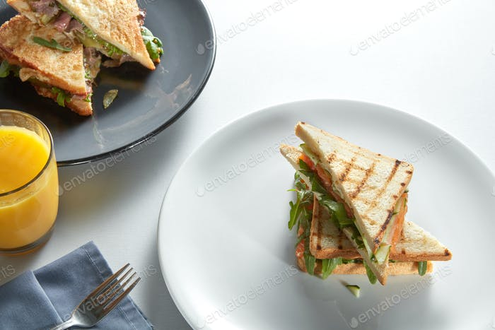 two club sandwich with various fillings