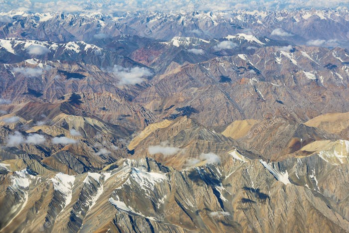 Aerial view of Ladakh region from the airplane window, India.